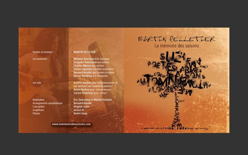 """Design album """"La mémoire des saisons"""" Martin Pelletier, Québec"""